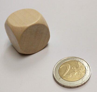 Dobbelsteen hout blanco 25mm met afgeronde hoeken