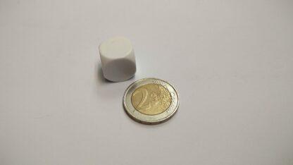 Dobbelsteen 16mm plastic blanco afgeronde hoeken
