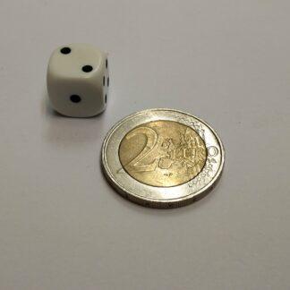 Dobbelsteen 12mm plastic met ogen 1-6 afgeronde hoeken