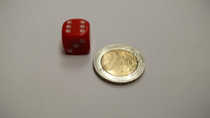 Dobbelsteen 14mm plastic met ogen 1-6 afgeronde hoeken