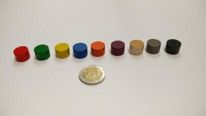 Cylinder hout 15x10mm kleuren